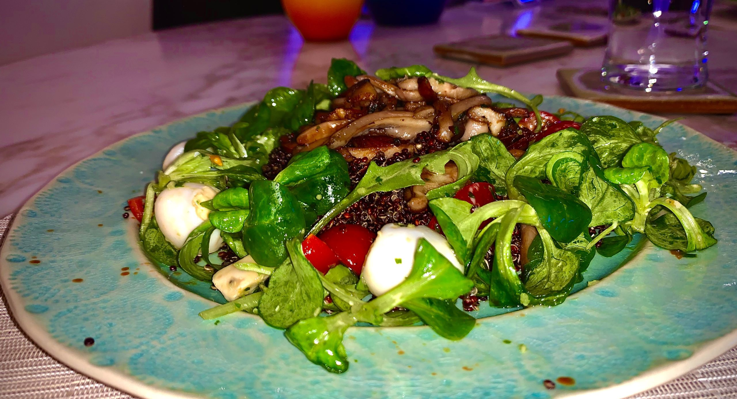 Black Quinoa Mushroom Salad with Quail egg salad
